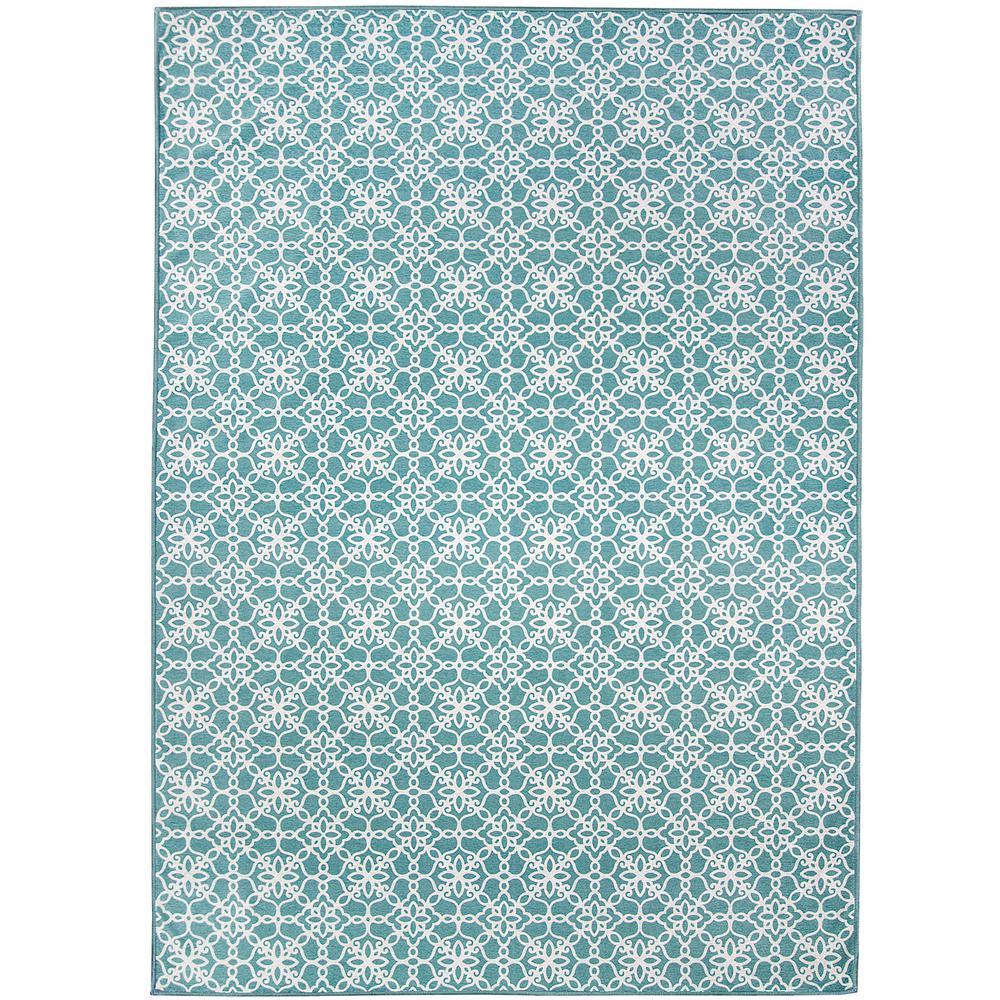 Washable Floral Tiles Aqua Blue 5 ft. x 7 ft. Stain Resistant Area Rug