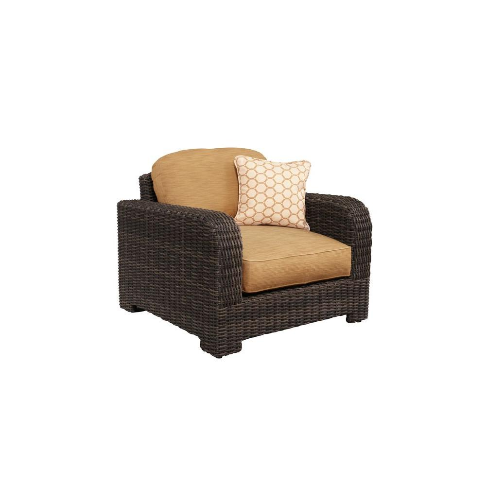 Northshore Patio Lounge Chair with Toffee Cushions and Tessa Barley Throw