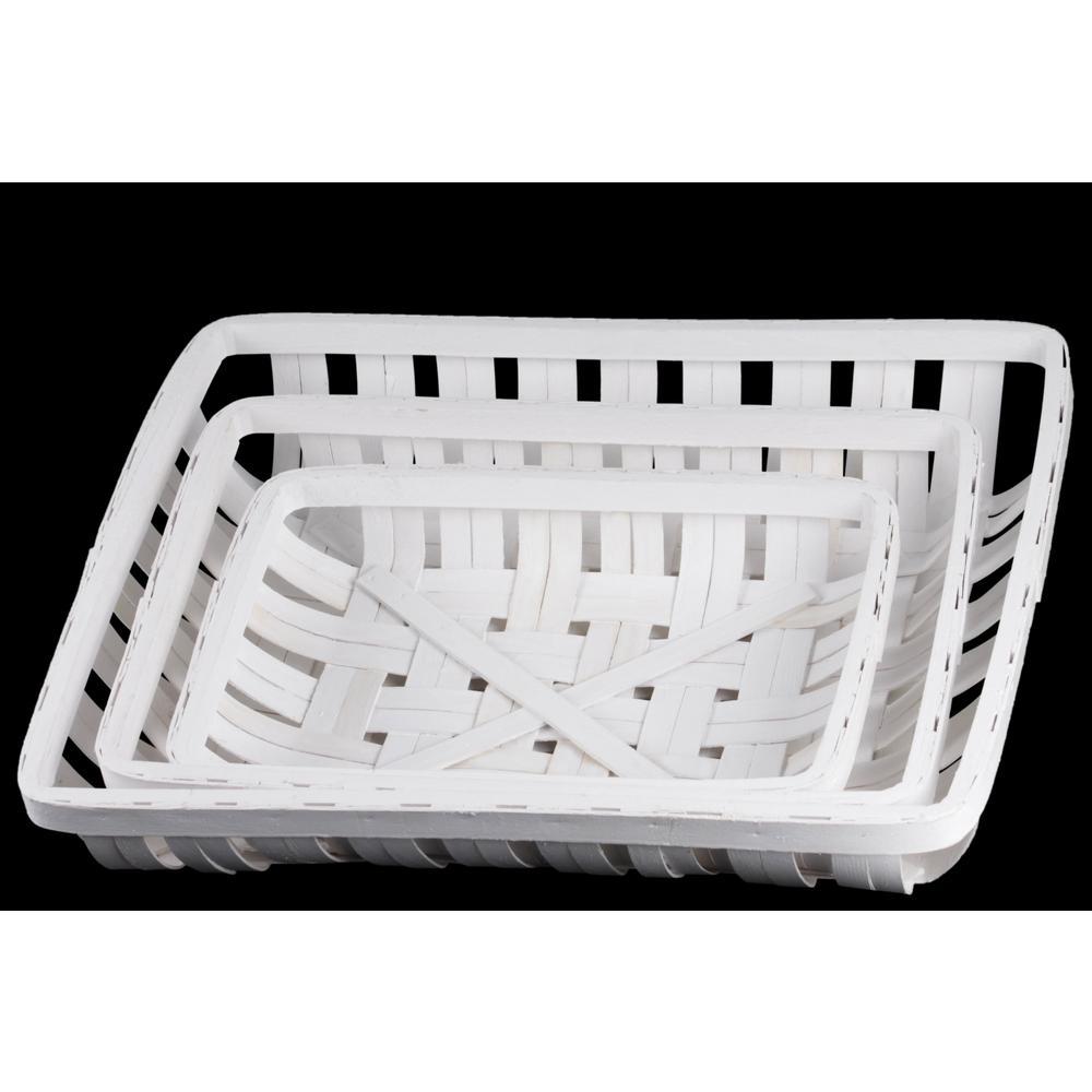 Rectangle Wood Painted Finish White Decorative Basket (Set of 3)