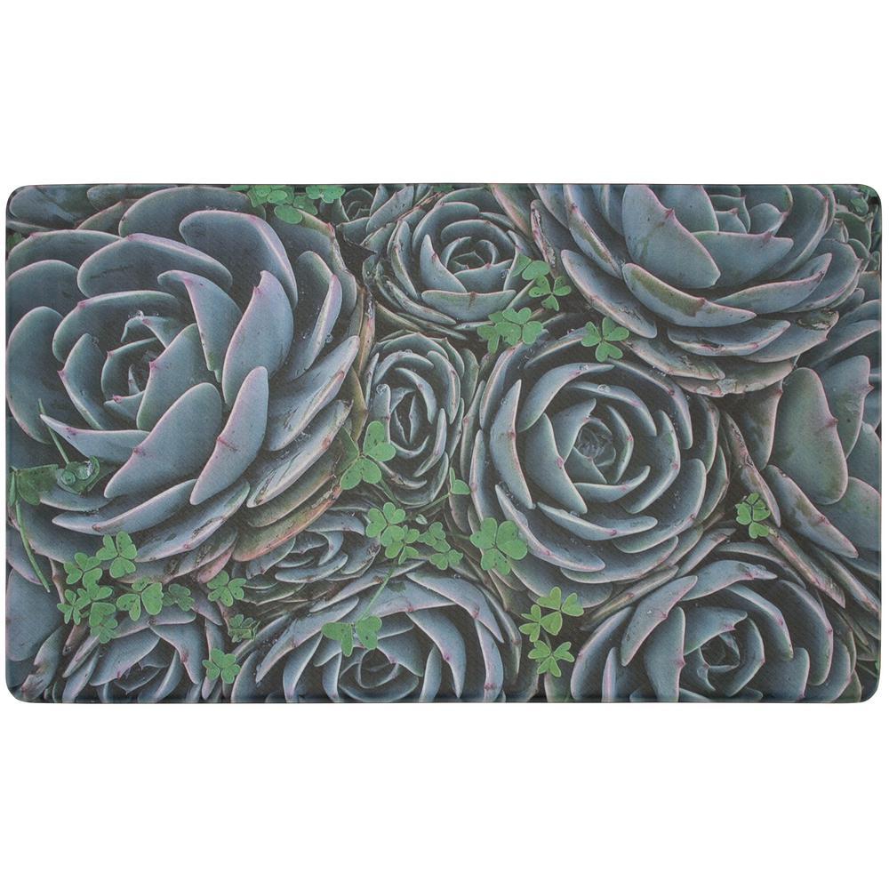 Clover Succulents 30 in. x 18 in. Gelness Kitchen Mat