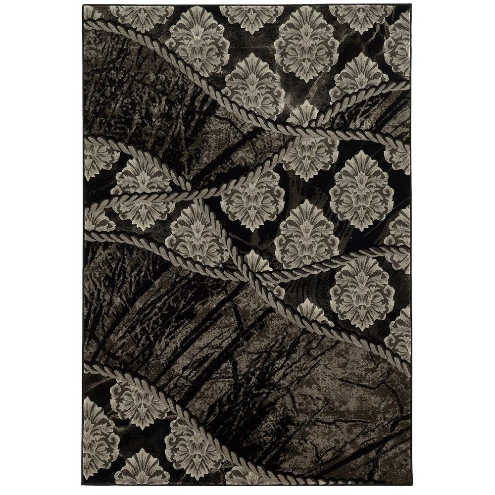 Linon home decor jewel collection brown and black 5 ft x for Home accents rug collection