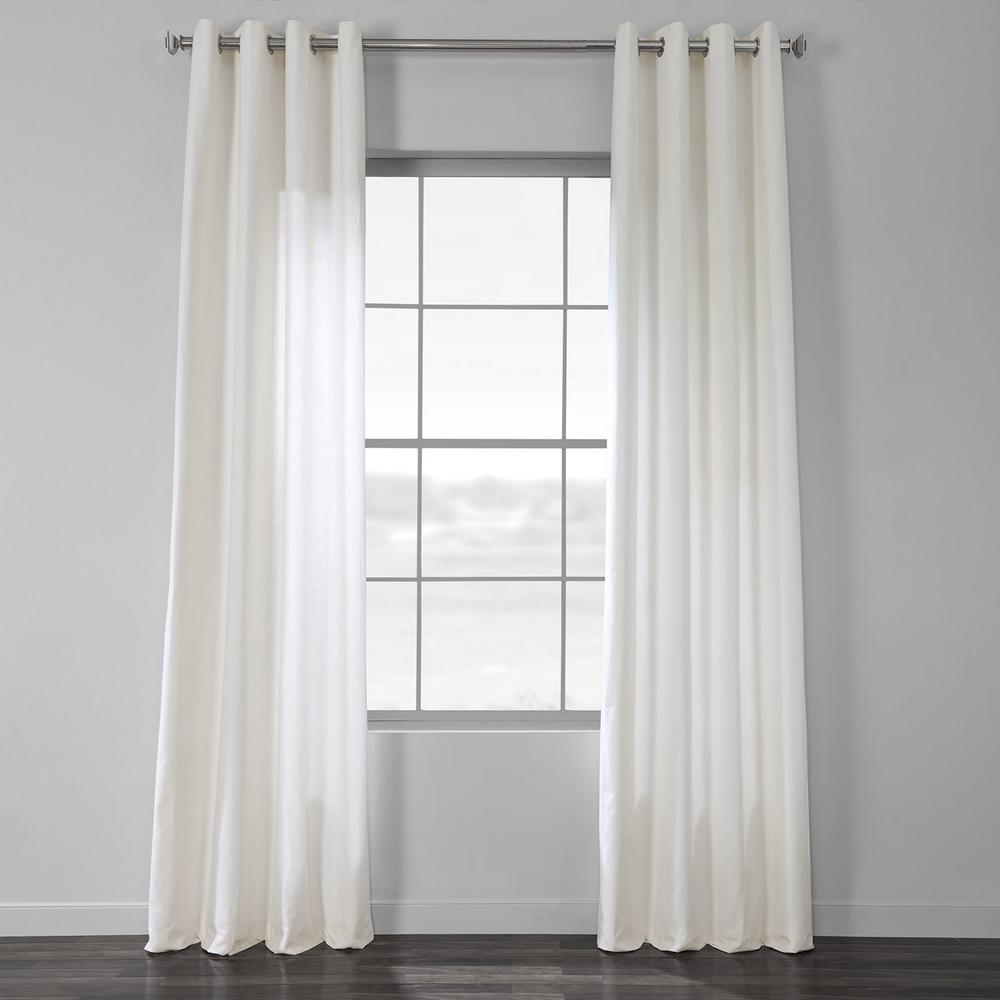 Exclusive Fabrics & Furnishings Pacific Pearl White Solid Country Cotton Linen Weave Grommet Curtain - 50 in. W x 96 in. L