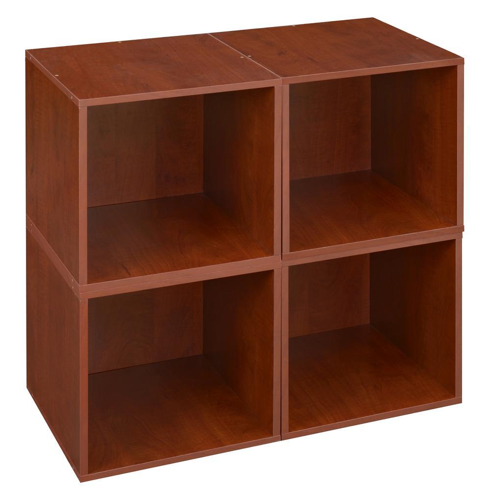 Cubo 13 in. x 13 in. Warm Cherry Modular 4-Cube Organizer