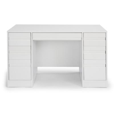 54 in. Rectangular White 7 Drawer Executive Desk with Keyboard Tray