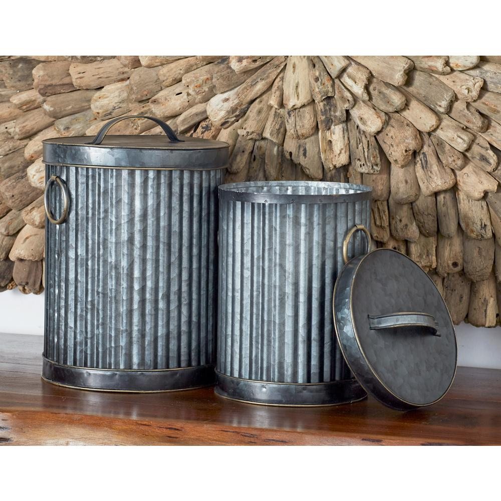 Dark Gray Iron Decorative Trash Cans with Gold Accents (Set of