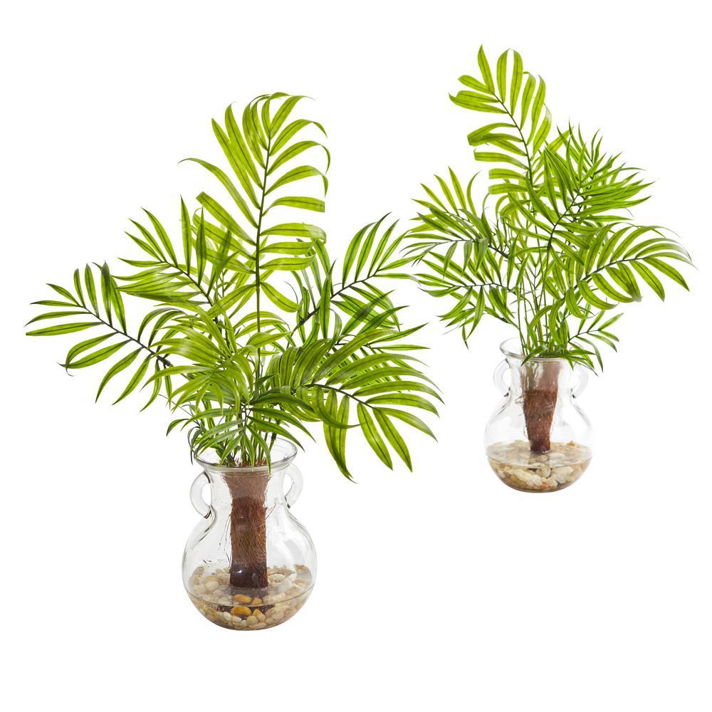 Indoor Mini Areca Palm Artificial Plant in Glass Vase (Set of 2)