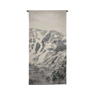 "Gray and Cream ""Mountains"" Wall Tapestry"