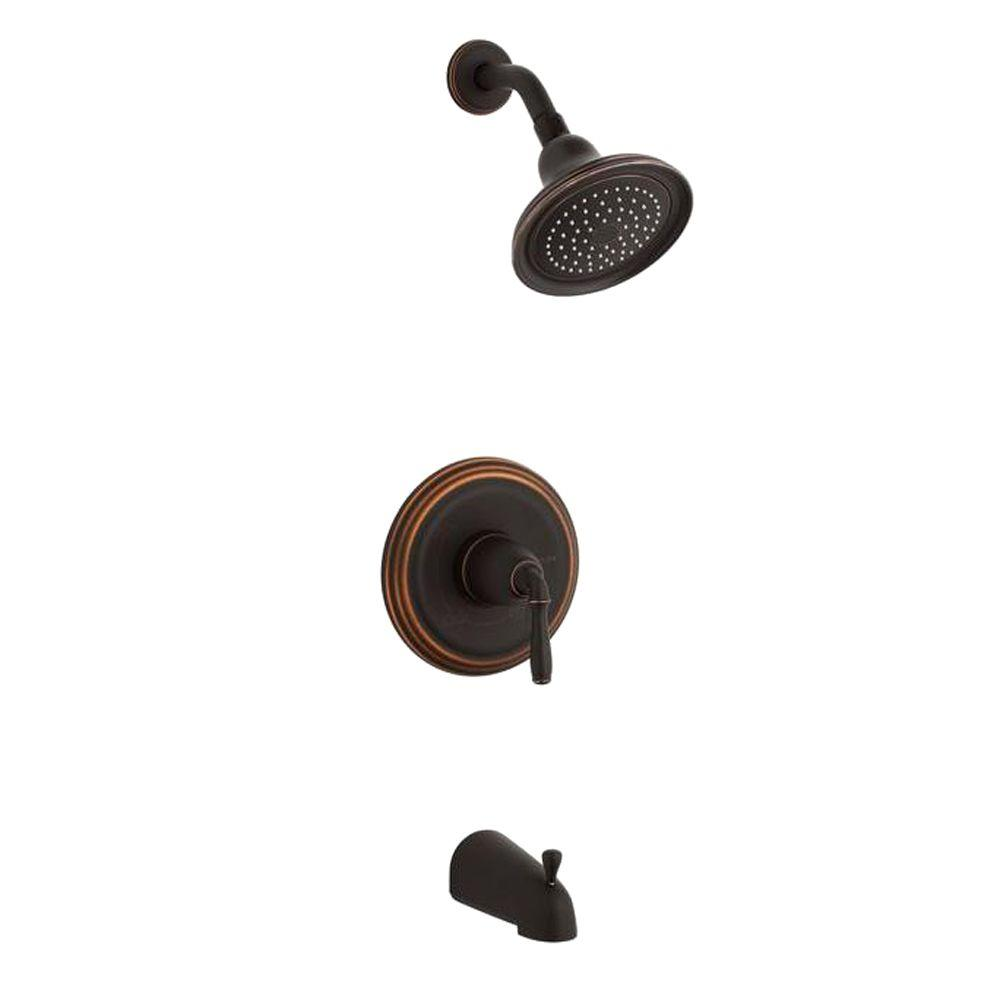 KOHLER Devonshire 1-Handle Rite-Temp Tub and Shower Faucet Trim Kit in Oil-Rubbed Bronze (Valve Not Included)-DISCONTINUED
