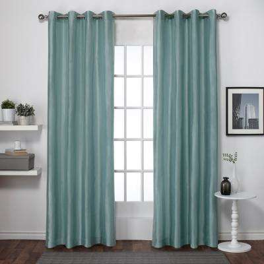 Chatra 54 in. W x 96 in. L Faux Silk Grommet Top Curtain Panel in Seafoam (2 Panels)
