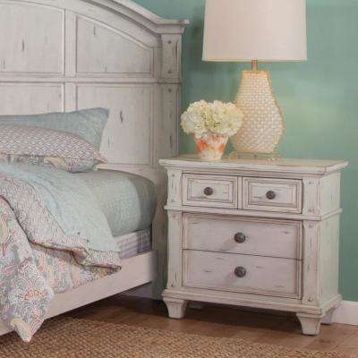 Sedona 3-Drawer Antique Cobblestone White Nightstand