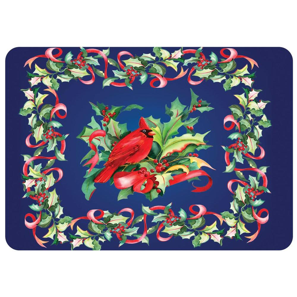 Cardinal in Holly 22 in. x 31 in. Polyester Surface Mat