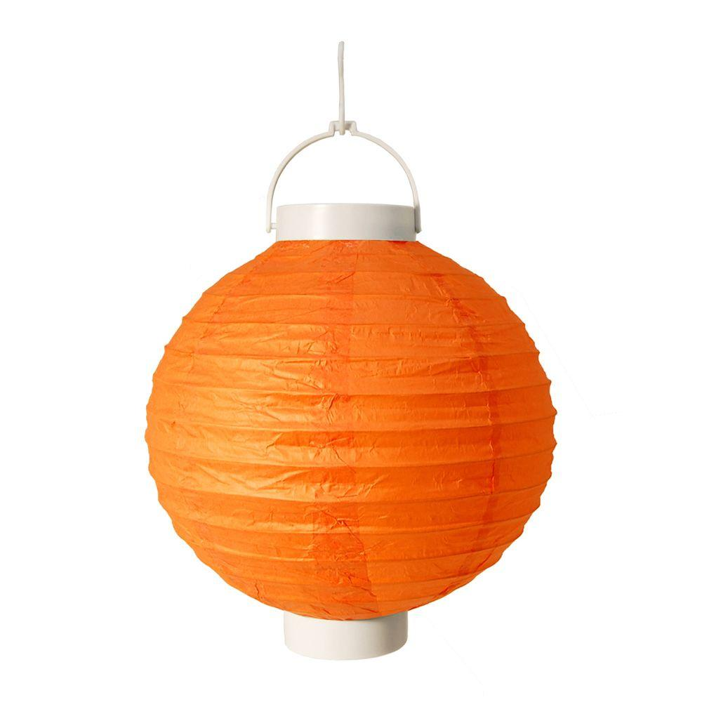 Lumabase Battery Operated Paper Lantern In Orange 3 Count 79203 The Home Depot