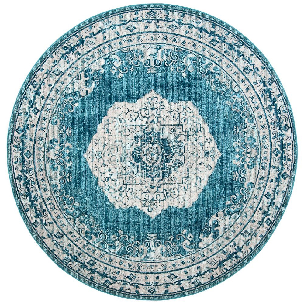Dark Teal 7 ft. x 7 ft. Round Area Rug