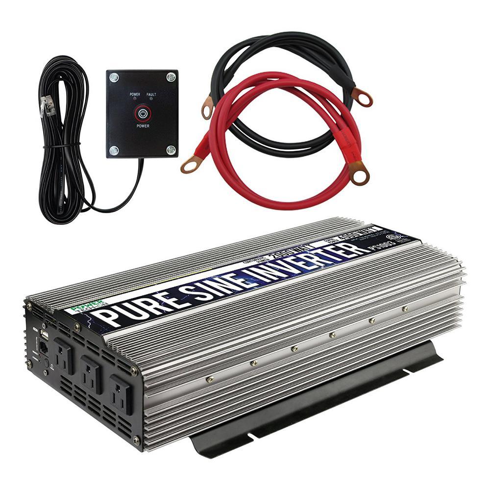 3-Outlet Pure Sine Wave Inverter 2,000-Watt Continuous/4,000-Watt Peak with 5-Volt USB Port