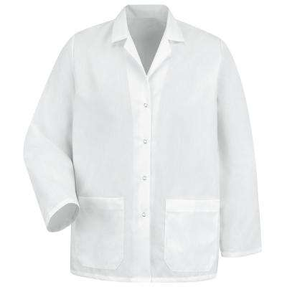 Women's Size L White Specialized Lapel Counter Coat