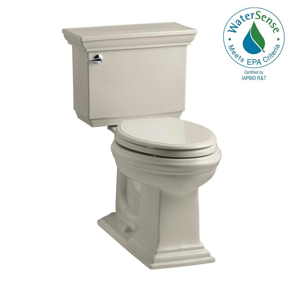 KOHLER Memoirs Stately 2-piece 1.28 GPF Single Flush Elongated Toilet with AquaPiston Flush Technology in Sandbar