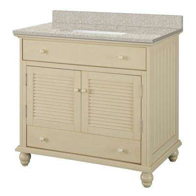 Cottage 37 in. W x 22 in. D Vanity in Antique White with Engineered Marble Vanity Top in Sedona with White Sink