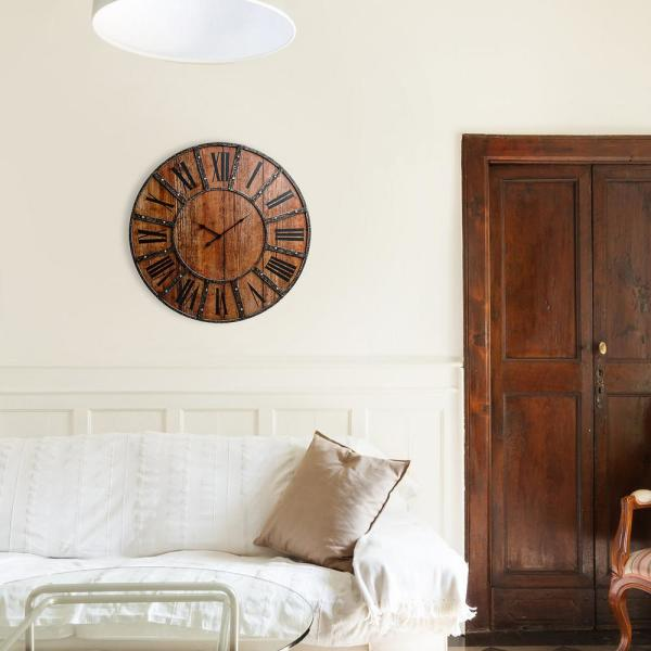 Plank and Metal Farmhouse Brown Wall Clock