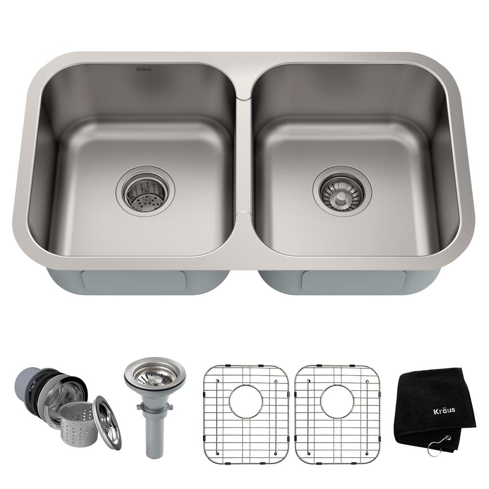 KRAUS Premier Undermount Stainless Steel 32 in. 50/50 Double Bowl Kitchen  Sink