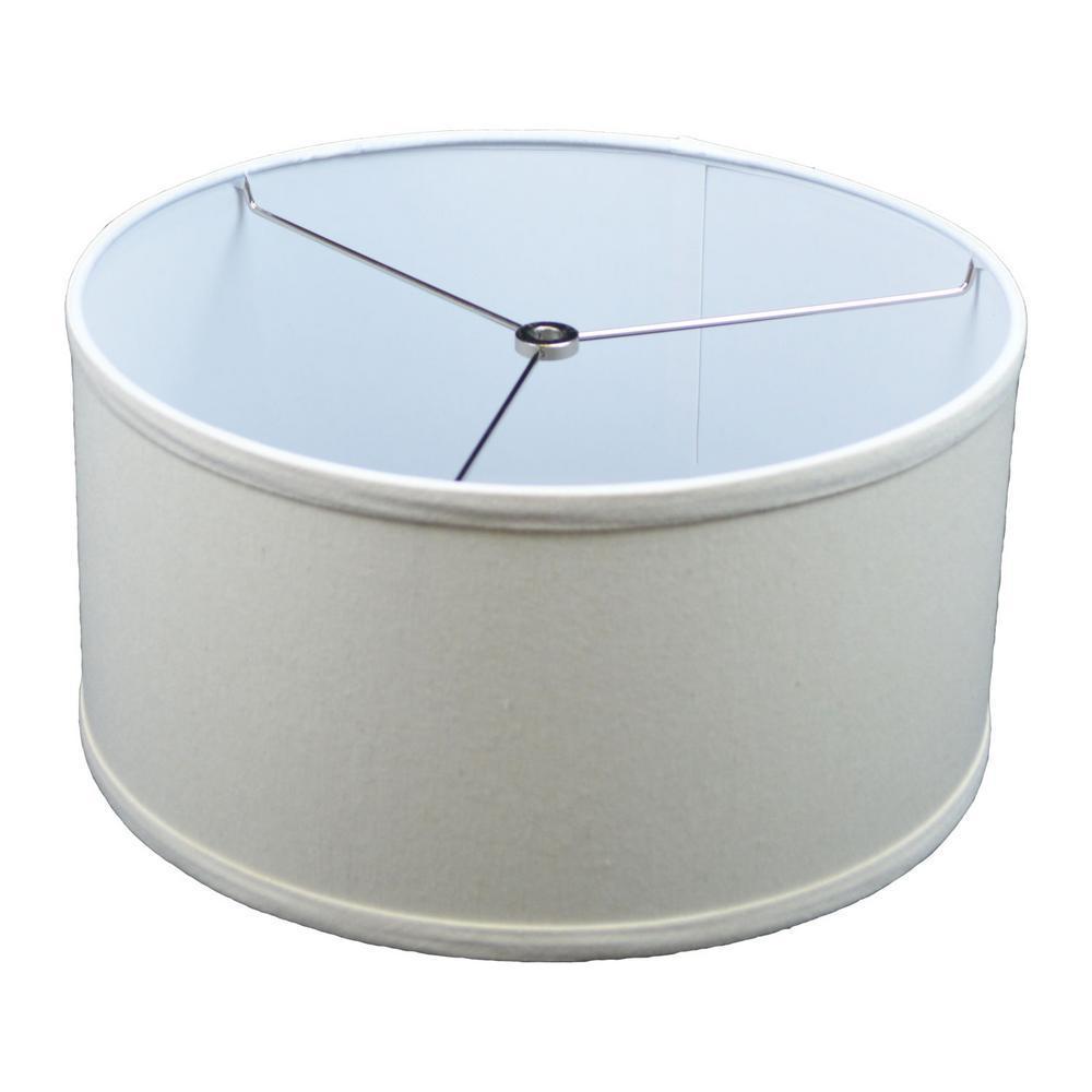 Fenchel Shades 14 in. Top Diameter x 14 in. Bottom Diameter x 7 in. Height, Drum Lamp Shade - Linen Beige Homespun