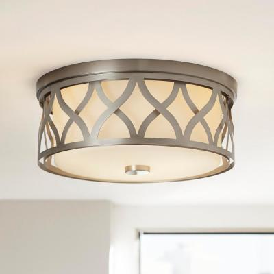 3-Light Brushed Nickel Flush Mount with Etched White Glass