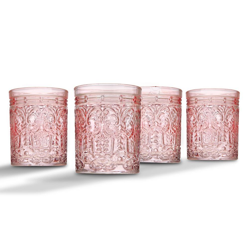 Jax 11 oz. Pink Crystal Doff Glasses (Set of 4)