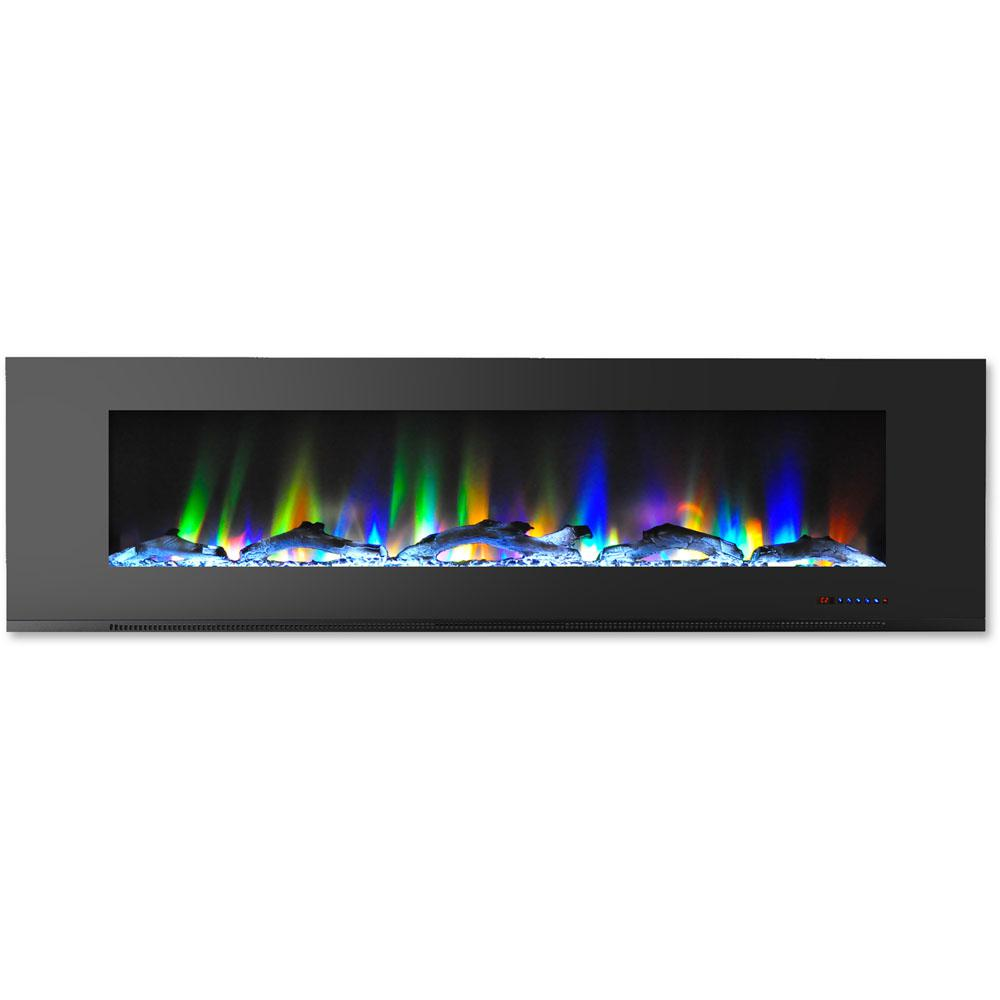 hanover 72 in wall mount electric fireplace in black with multi