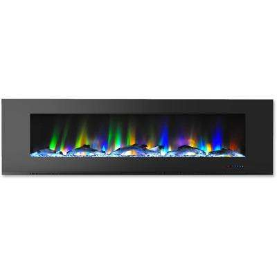 72 in. Wall-Mount Electric Fireplace in Black with Multi-Color Flames and Driftwood Log Display