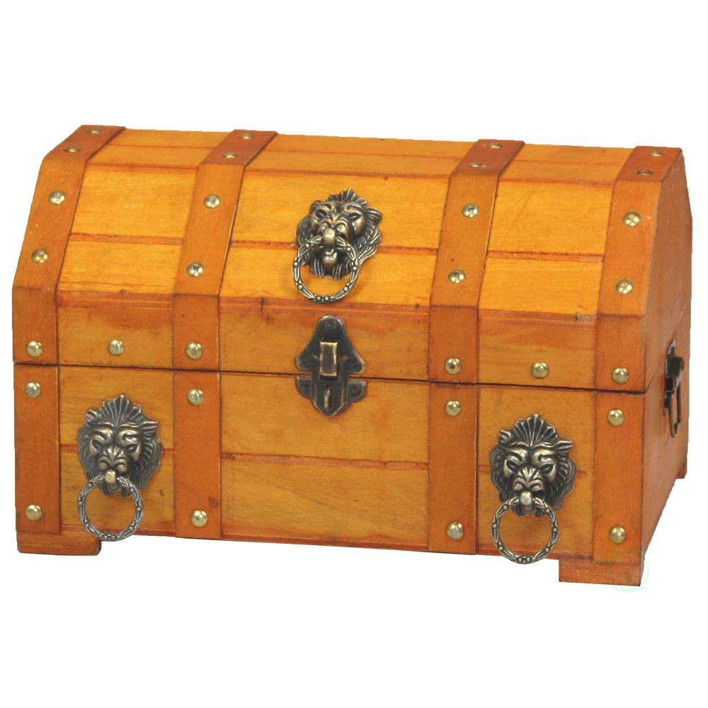 12 in. x 8 in. x 7.3 in. Wooden Pirate Treasure Chest wit...