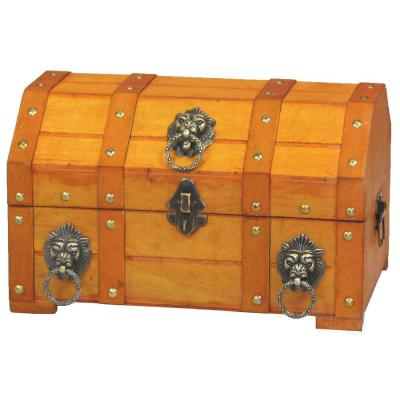 12 in. x 8 in. x 7.3 in. Wooden Pirate Treasure Chest with Lion Rings