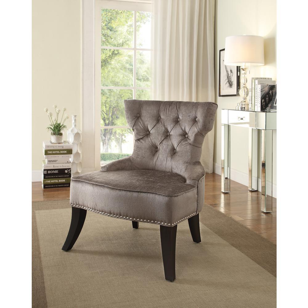 Colton Vintage Style Button Tufted Otter Velvet Chair