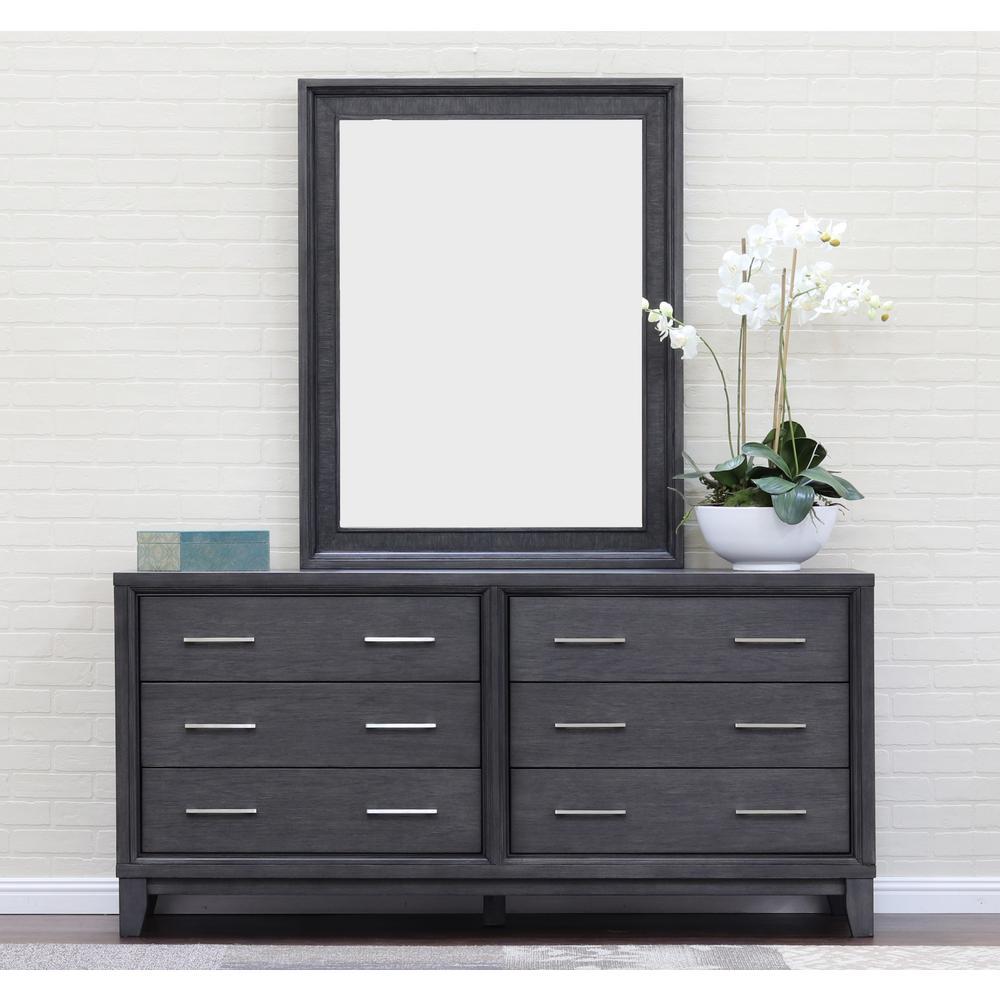 Squared Gray Wash Wall Dresser Mirror