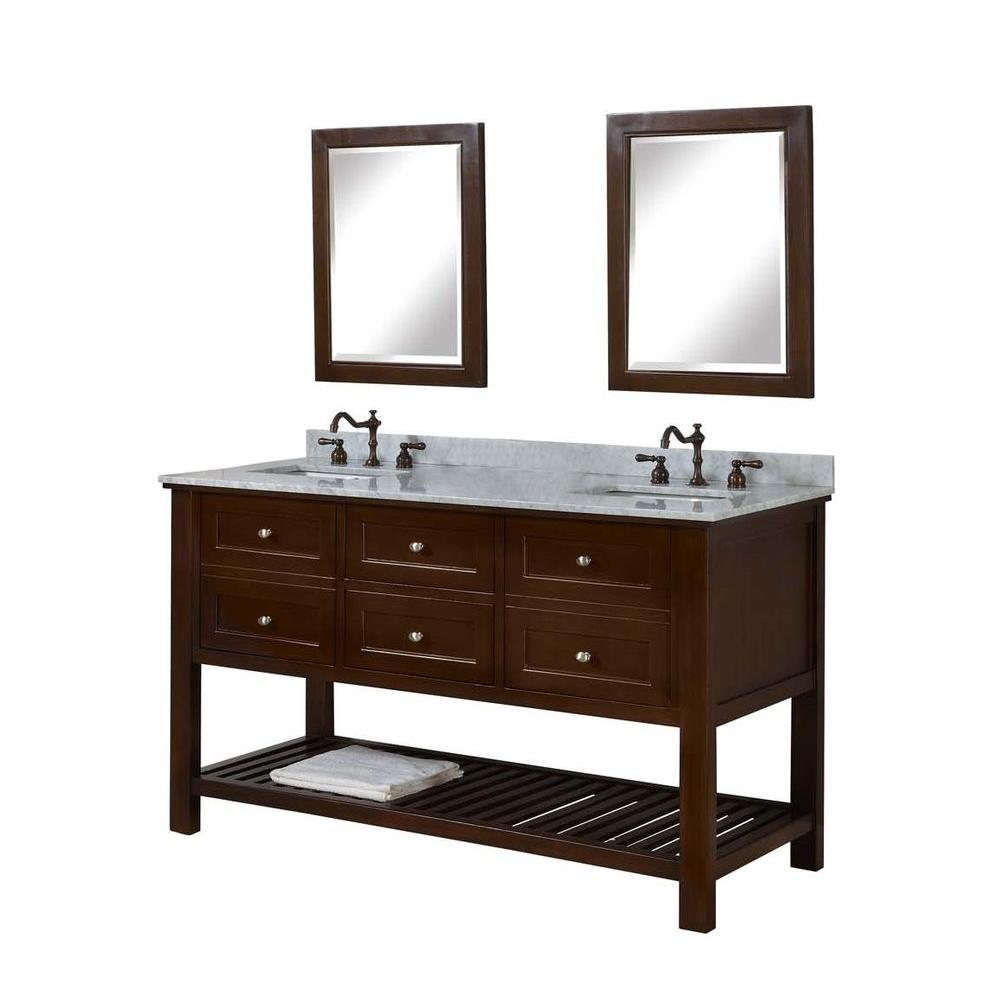 Mission Spa 60 in. Double Vanity in Dark Brown with Marble