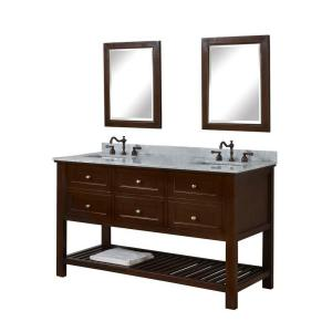 Direct vanity sink Mission Spa 60 inch Double Vanity in Dark Brown with Marble Vanity Top in Carrara White and Mirrors by Direct vanity sink