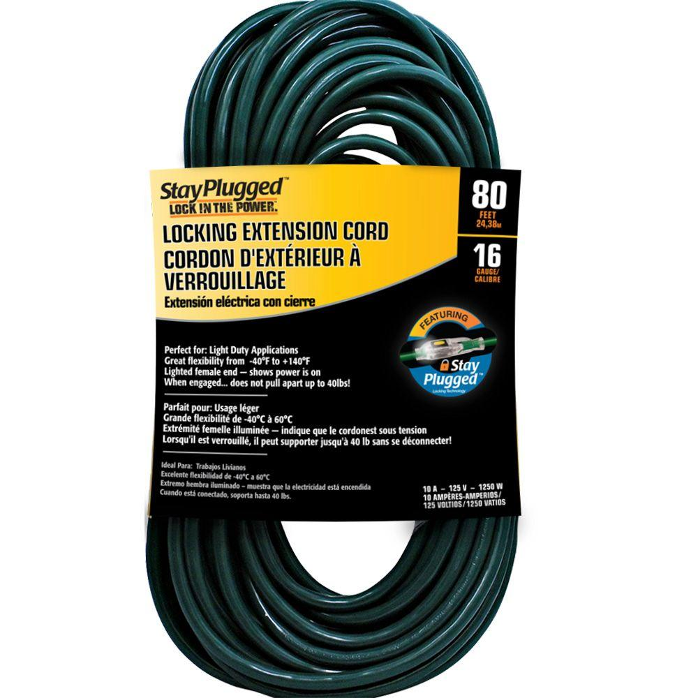 Cerrowire 80 ft. 16/3 Stayplug Extension Cord - Green
