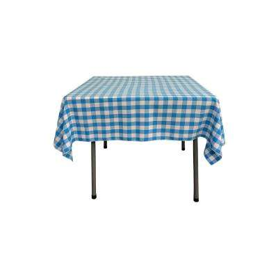 52 in. x 52 in. White and Turquoise Polyester Gingham Checkered Square Tablecloth