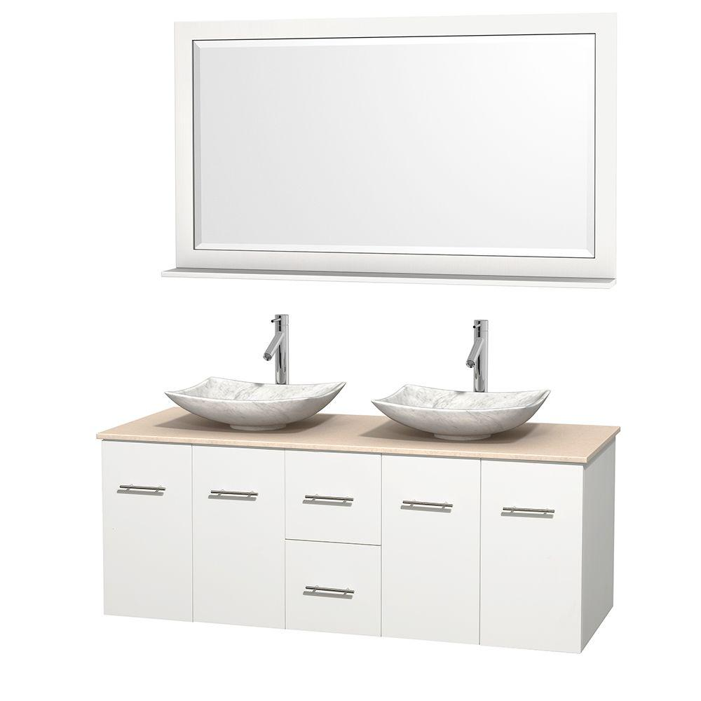 Wyndham Collection Centra 60 in. Double Vanity in White with Marble Vanity Top in Ivory, Carrara White Marble Sinks and 58 in. Mirror