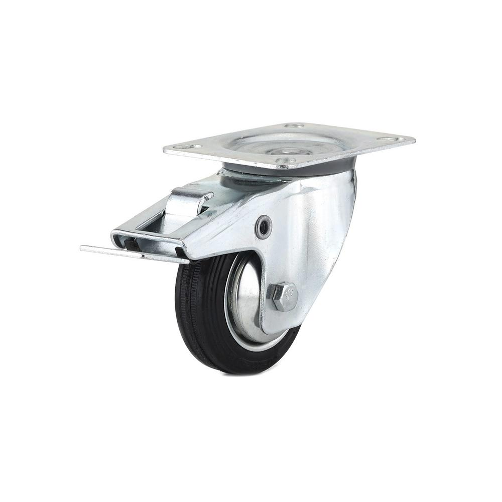3-5/32 in. black Swivel with Double-Lock Brake plate Caster, 110.3 lb.