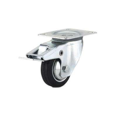 3-5/32 in. black Swivel with Double-Lock Brake plate Caster, 110.3 lb. Load Rating