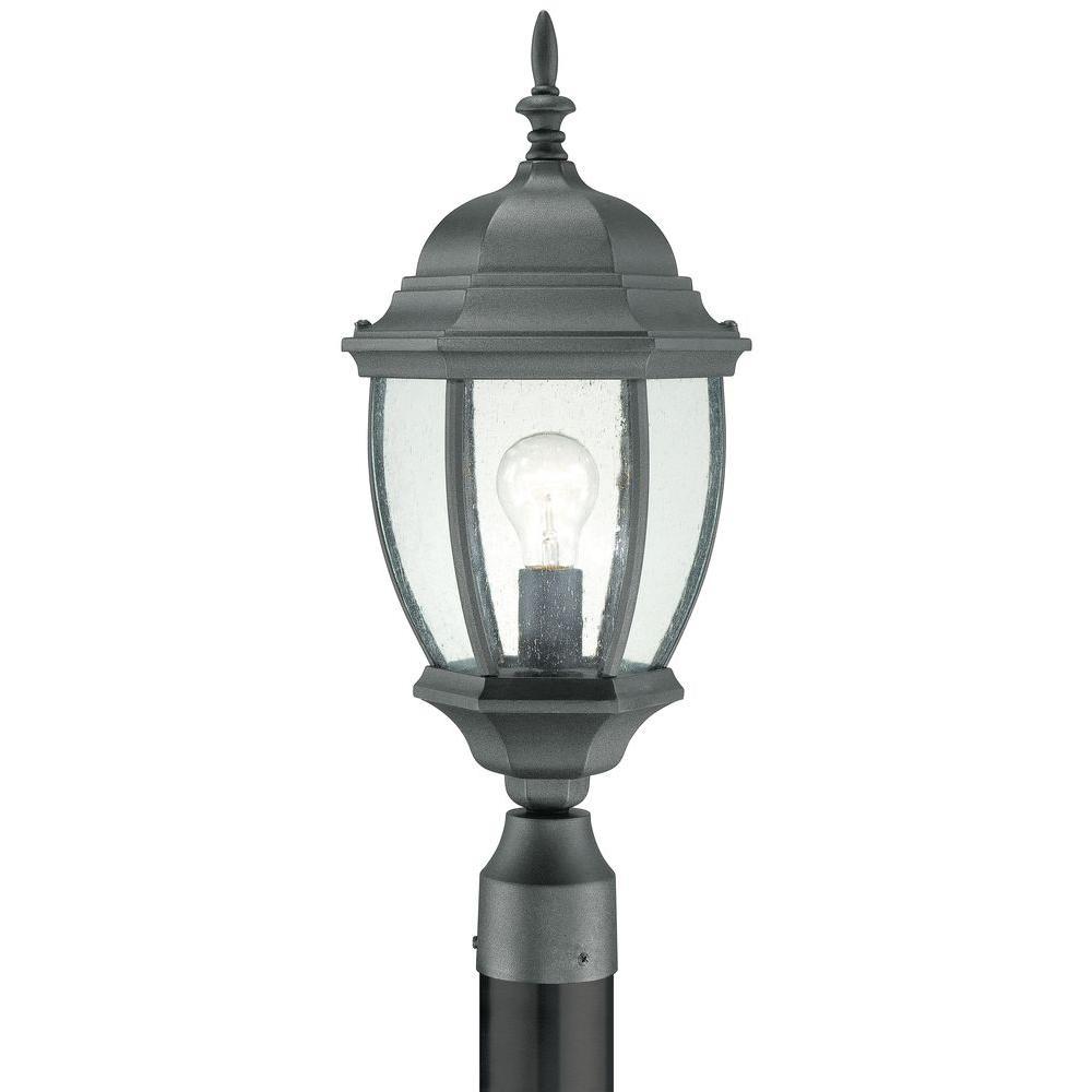1 Light Outdoor Black Incandescent Post Lantern Easy Installation Instructions