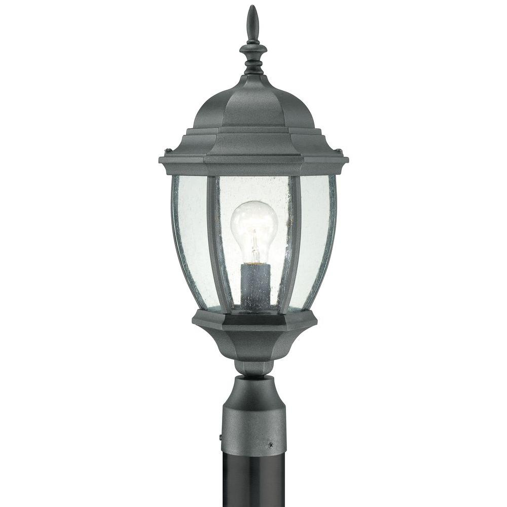 Outdoor Post Lights At Home Depot: Thomas Lighting Covington 1-Light Outdoor Black Post