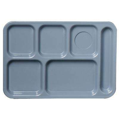 13.87x9.87 in. ABS Plastic Left Hand 6-Compartment Tray in Slate Blue (Case of 24)