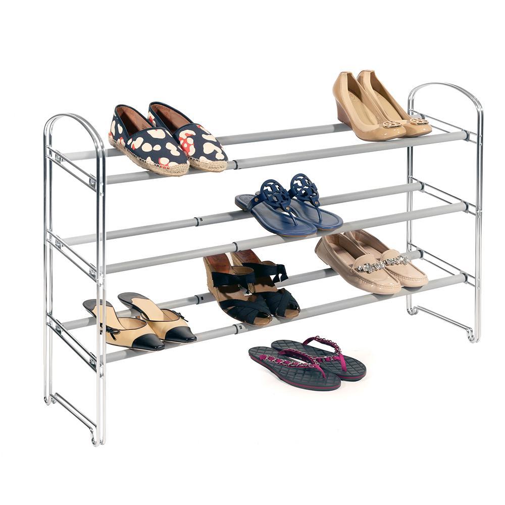 Chrome 3-Tier Expandable Shoe Rack