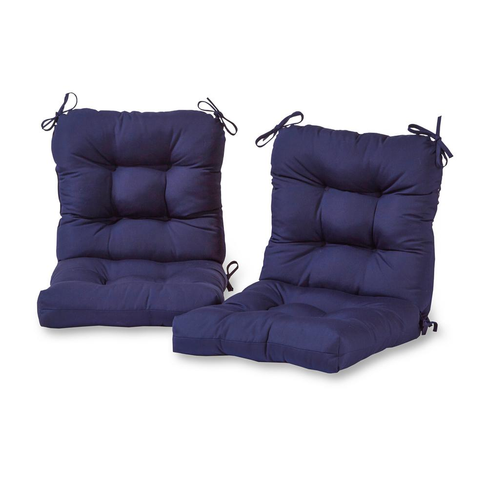 Greendale Home Fashions Solid Navy Outdoor Dining Chair Cushion 2 Pack