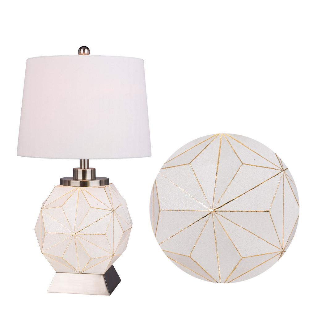 Fangio Lighting 25 5 In Modern White Luster Table Lamp With Brushed