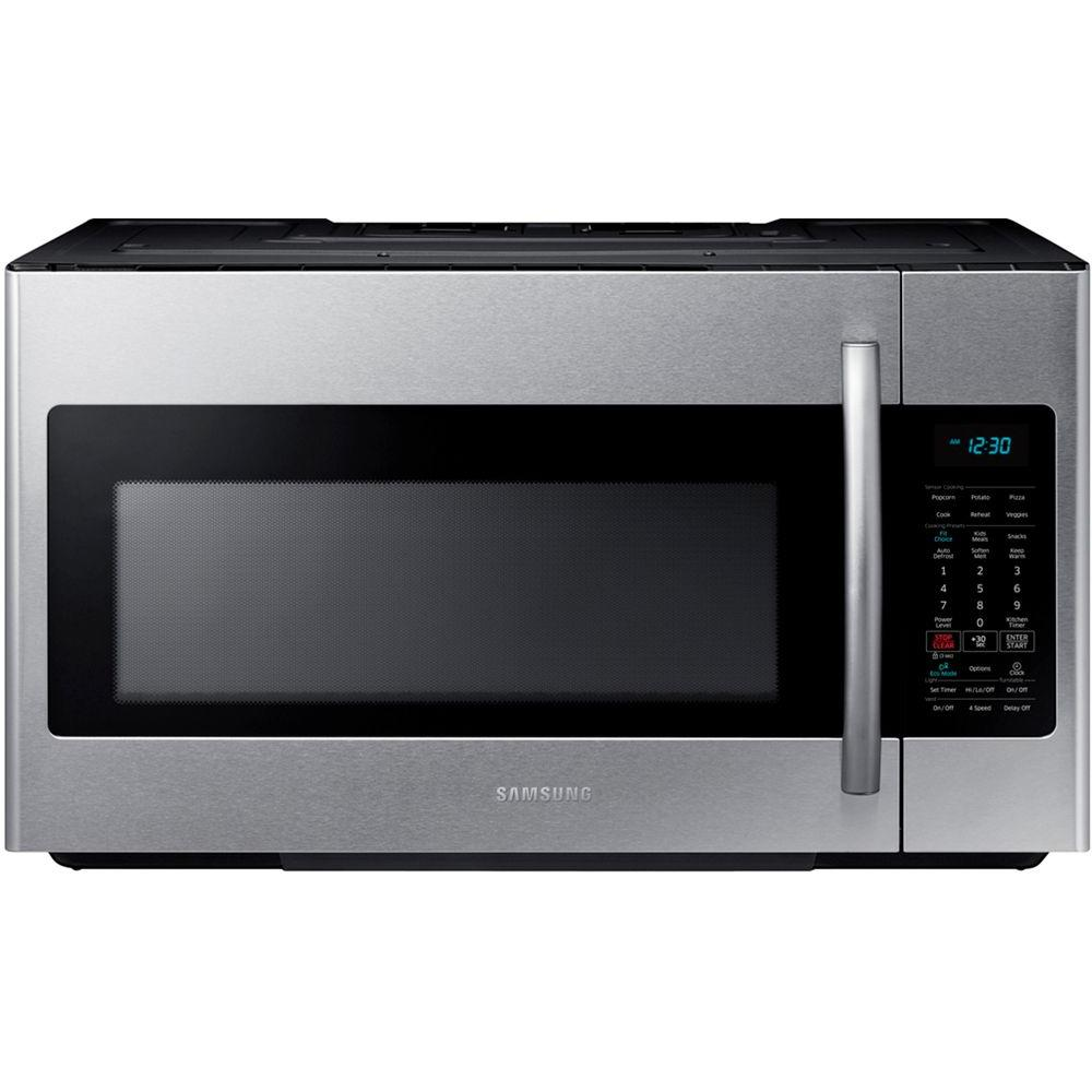 samsung 30 in w 1 8 cu ft over the range microwave in stainless rh homedepot com