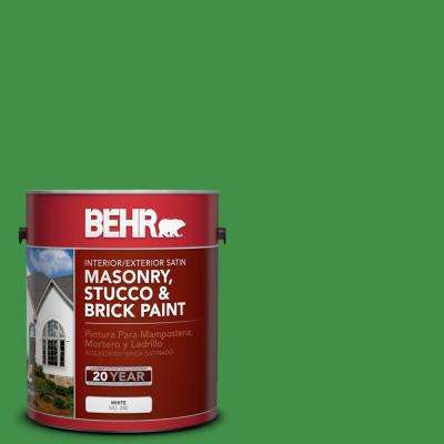 1 gal. #P390-7 Park Picnic Satin Interior/Exterior Masonry, Stucco and Brick Paint