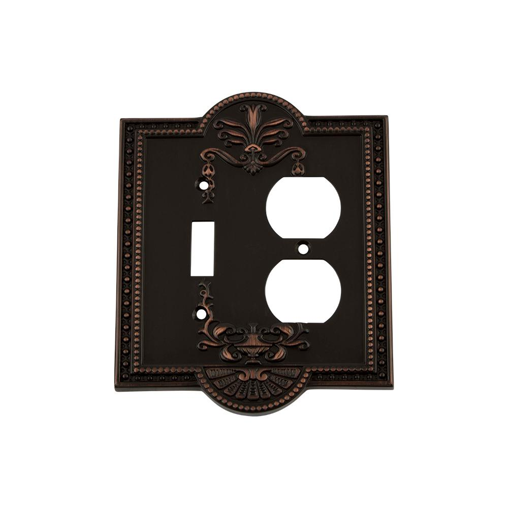 Meadows Switch Plate with Toggle and Outlet in Timeless Bronze