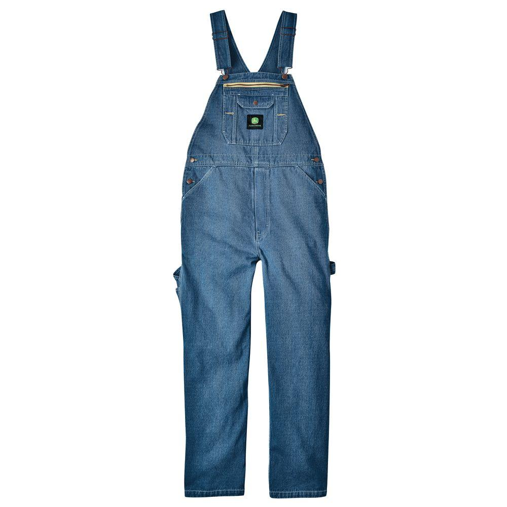 John Deere 42 in. x 30 in. Stonewashed Denim Bib Overall in Blue