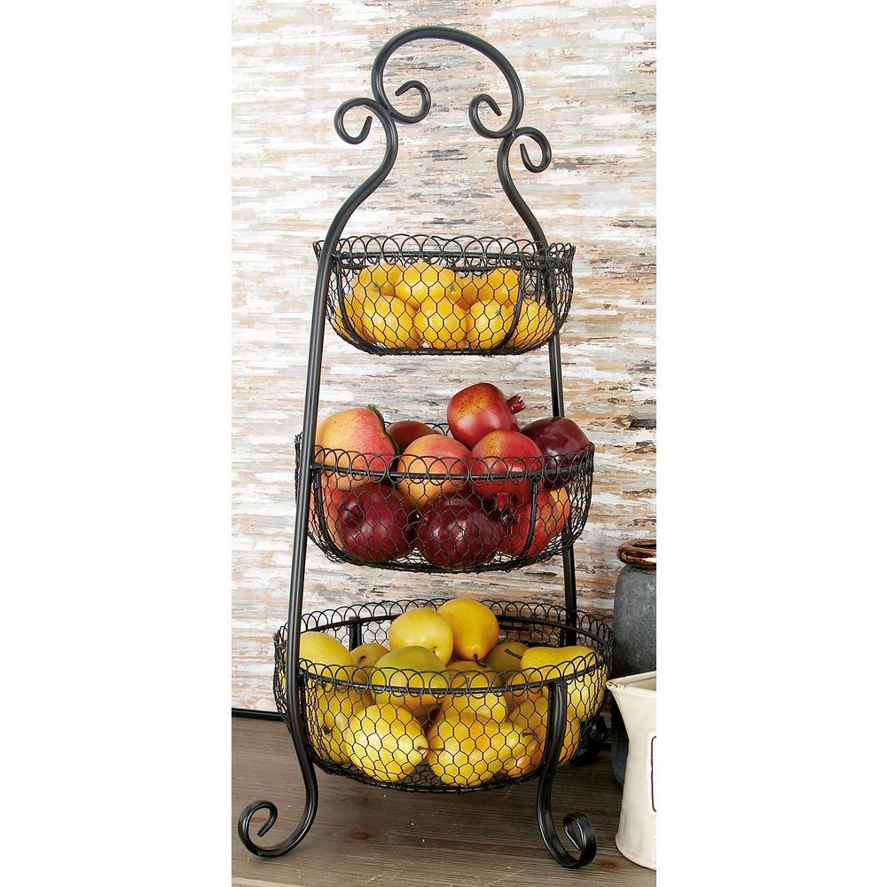 New Traditional 3-Tier Iron Black Decorative Basket Tray